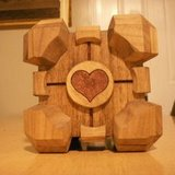 companion cube constructed from wood
